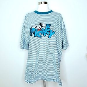 Disney | Vintage Striped Embroidered Mickey Tee